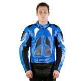 Motorradlederjacke blau