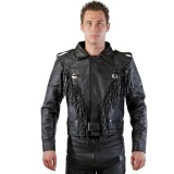 Motorradlederjacke Rockerstyle schwarz
